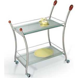 Стол сервировочный Мебелик Поло металлик/матовое стекло