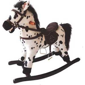 Качалка YOYO ROCK Лошадка плюшевая музыкальная белый с черными пятнами GS2035 каталка качалка r toys лошадка трансформер пластик от 8 месяцев белый 5570 ор146