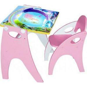 Набор мебели Интехпроект Части света парта-мольберт стульчик розовый 14-356