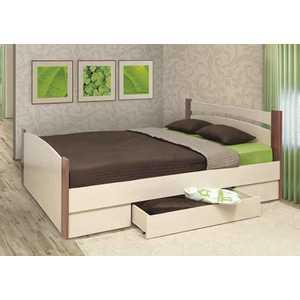 Кровать ОЛМЕКО 140х200 ясень шимо темный/дуб линдберг кровать eunice 1680х2140х1140мм темный дуб черный дерево гевея металл