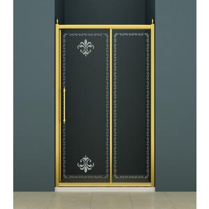 Душевая дверь Cezares Retro BF-1 140 матовая с рисунком, бронза (Retro-BF-1-140-PP-Br)