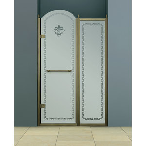 Душевая дверь Cezares Retro B-11 120 матовая с рисунком, золото, левая (Retro-B-11-120-PP-G-L)