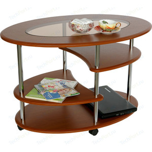 Стол журнальный Калифорния мебель Эллипс со стеклом СЖС-01 вишня стол журнальный калифорния мебель эллипс сж 01 вишня