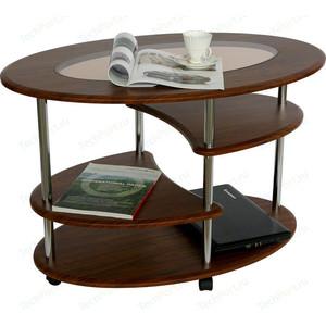 Стол журнальный Калифорния мебель Эллипс со стеклом СЖС-01 орех стол журнальный калифорния мебель эллипс сж 01 орех