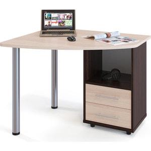 Стол компьютерный СОКОЛ КСТ-102 венге/дуб беленый правый стол компьютерный сокол кст 102 венге дуб беленый левый