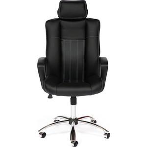 Кресло офисное TetChair OXFORD хром кож.зам, черный/черный перфор. 36-6/36-6/06