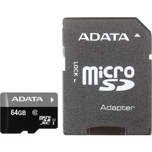 Карта памяти ADATA microSDXC 64GB Premier Class 10 UHS-I U1 (SD адаптер) (AUSDX64GUICL10-RA1)