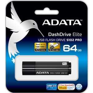 Флеш накопитель ADATA 64GB S102 PRO USB 3.0 Серый алюминий (Read 600X) (AS102P-64G-RGY)