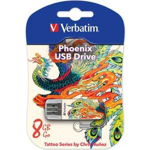 Флеш накопитель Verbatim 8GB Mini Tattoo Edition USB 2.0 Феникс (49883)
