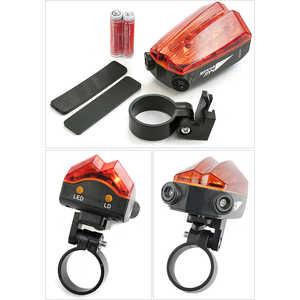 цена на Фонарь велосипедный Яркий луч V-052 с лазерной подсветкой 5 LED 2 красных лазера
