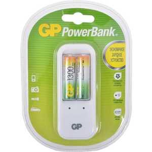 Зарядное устройство и аккумулятор GP PowerBank PB410GS130 + 1300mAh AA 2шт. аккумулятор зарядное устройство gp powerbank pb410gs130 2 шт aa 1300мaч
