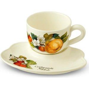 Чашка на маленьком подносе Nuova Cer Итальянские фрукты (NC7960-CEM-AL)