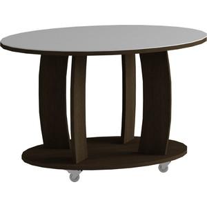 Журнальный стол MetalDesign Смарт MD 738.02.11корпус-венге/ стекло-белый metaldesign смарт md 746 02 10 корпус венге стекло крем