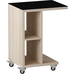 Журнальный стол MetalDesign Смарт MD 741.05.01 корпус-ясень светлый/ стекло-черный metaldesign смарт md 746 02 10 корпус венге стекло крем