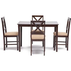 цены на Обеденный комплект эконом TetChair Хадсон (стол + 4 стула)/ Hudson Dining Set, cappuccino (темный орех)  в интернет-магазинах