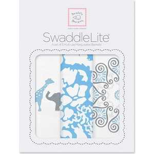 Набор пеленок SwaddleDesigns SwaddleLite PB Elephant/Chickies (SD-476B) набор пеленок swaddledesigns swaddle duo blue little bunnie