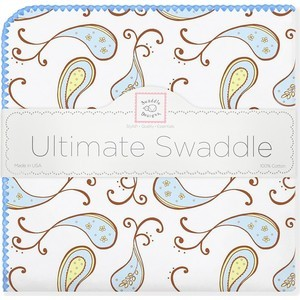 Фланелевая пеленка SwaddleDesigns для новорожденного Pstl Blue Paisley (SD-120PB) фланелевая пеленка swaddledesigns для новорожденного pstl pink dot sd 001pp