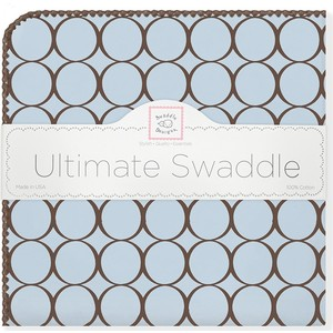 Фланелевая пеленка SwaddleDesigns для новорожденного Blue w/BR Mod C (SD-016PB)