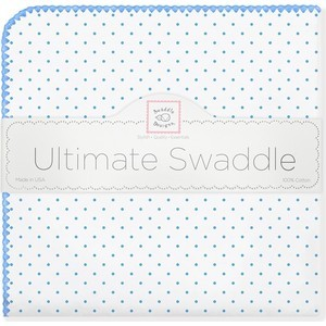 Фланелевая пеленка SwaddleDesigns для новорожденного Bt. Blue Polka Dot (SD-001B)