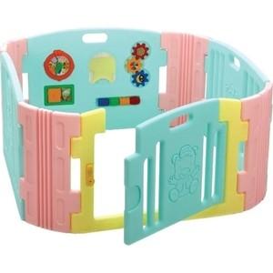 Детский манеж Edu Play с игровой панелью бирюза/лимон/розовый (BR-7317 PCT)