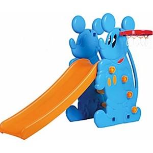 Горка QIAOQIAO Микки+баскетбольное кольцо (173x80x121h) голубая QQ517
