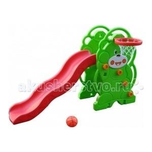 Горка QIAOQIAO Мишка+баскетбольное кольцо (168x88x108h) QQ12065-3