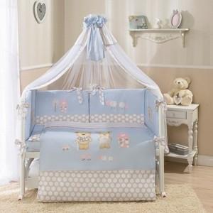 Комплект в кроватку Perina Венеция 7 предметов Лапушки голубой (КПВ7-0335В7-02.4)