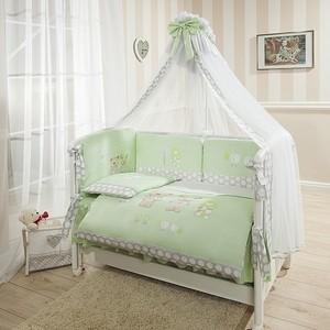 Комплект в кроватку Perina Венеция 7 предметов Лапушки салатовый (КПВ7-0335В7-02.1)
