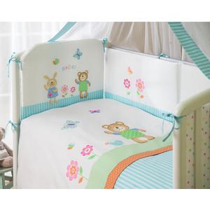 Комплект в кроватку Perina Глория 3 предмета Hello бирюзовый (КПГ3-0329Г3-02.0)