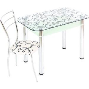Стол обеденный Мебель из Стекла 3.4 ДП28 прозрачный белый стол обеденный аврора мебель леонардо