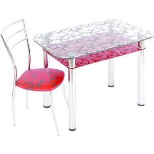 Стол обеденный Мебель из Стекла 3.4 ДП28 прозрачный красный стол обеденный аврора мебель леонардо