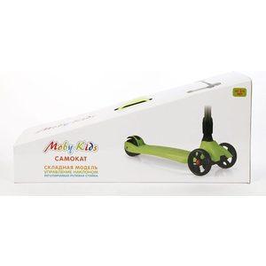 Самокат 3-х колесный Moby Kids складной управление наклоном зеленый (64632) самокат 3 х колесный moby kids управление наклоном синий 64966