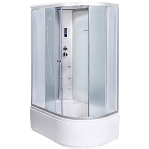 Душевая кабина Aqualux MODO-130 левая, 130х85х215 матовое стекло/заднее стекло белое (AQ-4073GFL-Wh)