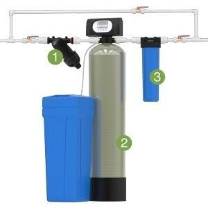 Установка для обезжелезивания и умягчения воды Гейзер WS1054/WS1CI (Экотар В) с автоматической промывкой по расходу цена и фото