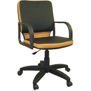 Кресло Союз мебель Элит ТГ экокожа черно-оранжевая