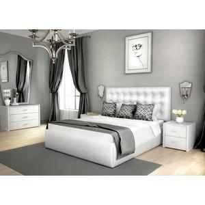 Кровать Lonax Аврора подъемный механизм с ящиком экокожа albert white (160x190 см) фото