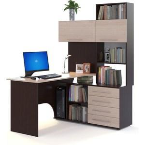 Компьютерный стол СОКОЛ КСТ-14П венге/беленый дуб стол компьютерный сокол кст 102 венге дуб беленый левый
