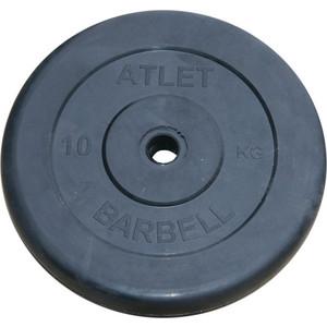 Диск обрезиненный Atlet 31 мм, 10 кг черный диск обрезиненный mb barbell d 31 мм черный 10 кг atlet