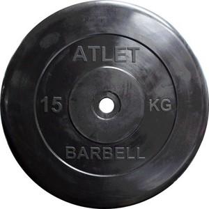 Диск обрезиненный Atlet 31 мм. 15 кг. черный купить недорого низкая цена  - купить со скидкой