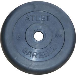 Диск обрезиненный Atlet 31 мм, 5 кг черный
