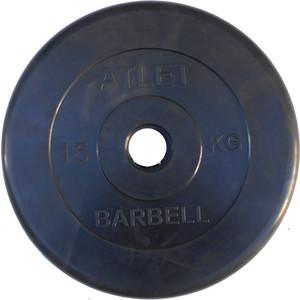 Диск обрезиненный Atlet 51 мм, 15 кг черный
