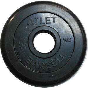 Диск обрезиненный Atlet 51 мм. 5 кг. черный диск обрезиненный star fit bb 202 посадочный диаметр 26 мм 0 5 кг