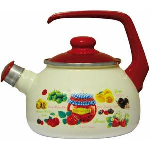 Чайник эмалированный со свистком 2.5 л Metrot Таково Варенье (150313) чайник metrot терракот со свистком 2 5 л