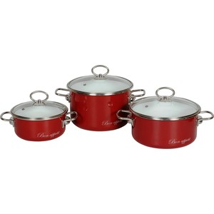 Набор кастрюль 3 предмета Vitross Bon Appetit №15 (8DB155S вишневый)