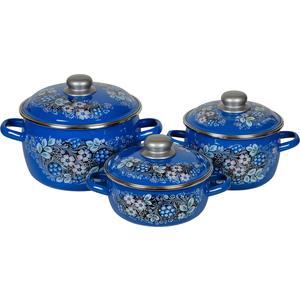 Набор кастрюль 3 предмета СтальЭмаль Вологодский сувенир №07 (8КА071М) набор кастрюль 3 предмета стальэмаль 02 хохлома 6кв021м