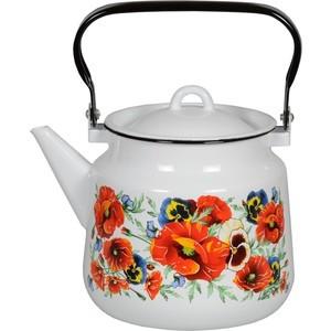 Чайник эмалированный 3.5 л СтальЭмаль Маки мечта (1с26с)