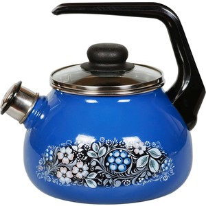 Чайник эмалированный со свистком 2.0 л СтальЭмаль Вологодский сувенир (4с210я)