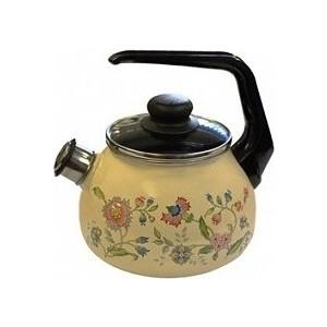 Чайник эмалированный со свистком 2.0 л СтальЭмаль Луговые цветы (4с210я)