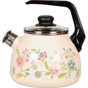 Чайник эмалированный со свистком 3.0 л СтальЭмаль Луговые цветы (4с209я)