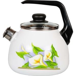 Чайник эмалированный со свистком 3.0 л СтальЭмаль Каллы (4с209я)